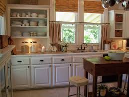 Terrific Fabric Double Sliding Half Windows And White Kitchen Cabinets As Well Old Wood Butcher Block Island Vintage Decorating Ideas