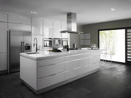 Modern White Kitchen Dark Floor Also Picture