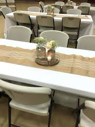 Rustic Bridal Shower Table Centerpiece Burlap And Lace Wedding Decorations