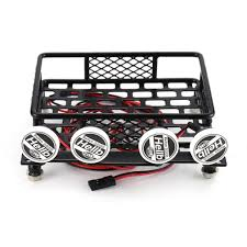 RC CAR Roof Rack Luggage Carrier With 4 LED Light Bars Truck Crawler ...