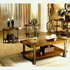 Piece Furniture Set Rustic Coffee Table Sets Design In Rectangle Shaped Two Level Excellent Living Room