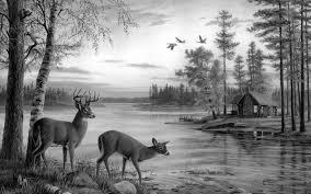 Painting Deer Nature River Birch Animals 9ue2 Animalsgray