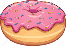 Pink cartoon donut Vector clip art illustration with simple gra nts All in a single