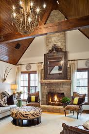 Rustic Beamed Ceiling Living Room Family Den Interior Design Ideas And Home Decor By Joy Tribout Only Minus The Animal Print