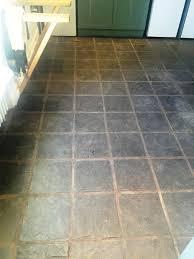 slate kitchen floor stripped cleaned and sealed lochwinnoch