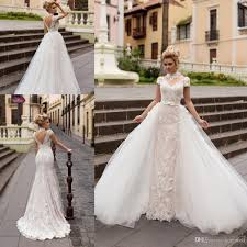 Discount Short Sleeves Wedding Dresses With Removable Skirt Gowns 2017 Full Lace High Neck Cap
