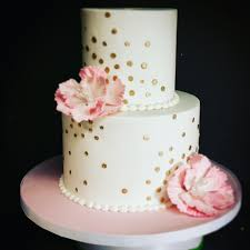 Pink White And Gold Birthday Decorations by Pink And Gold Polka Dot Birthday Cake U2013 Blue Sheep Bake Shop