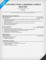 Sample Of Construction Resume Laborer 13 Cv Cover Letter