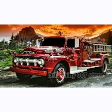 100 Old Fire Truck NEW Full SquareRound Drill 5D DIY Diamond Painting Old Fire Truck