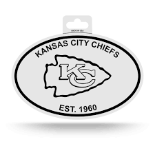 100 Kansas City Shipping Chiefs Oval Decal Sticker NEW 3 X 5 Inches Free Black White