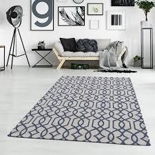 teppich baumwolle modern grau blau ethno stil wohnzimmer ebay