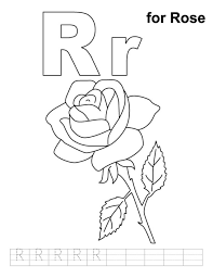 R For Rose Free Alphabet Coloring Pages Flower
