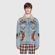 embroidered denim jacket with shearling gucci men u0027s denim