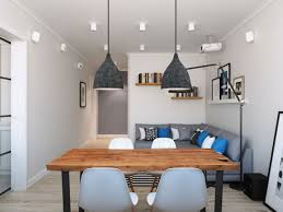 Rustic Dining Room Lighting Ideas by Brown Lacquer Teak Wood Armless Chairs Scandinavian Style Dining