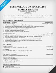 Qa Sample Resume Quality Assurance Specialist