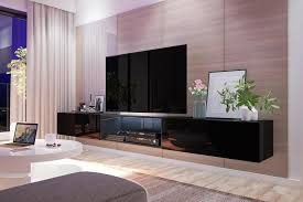 selsey tv lowboard tv hängeboard larka 300 cm mit led beleuchtung in schwarz hochglanz