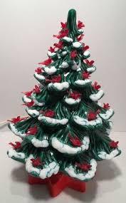 Vintage Atlantic Mold Ceramic Christmas Tree by Vintage Ceramic Christmas Tree Electric Plastic Bird Bulbs Snow