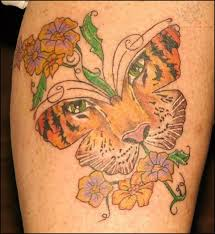Tiger Butterfly And Flowers Lowerback Tattoo
