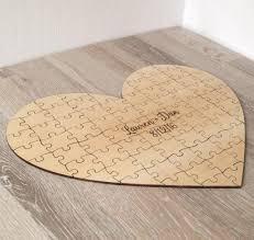 Wedding Guest Book Puzzle Alternative Custom Heart Personalized Rustic