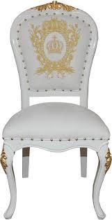 pompöös by casa padrino luxus barock esszimmer stuhl weiss gold mit krone pompööser barock stuhl designed by harald glööckler