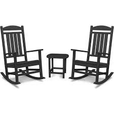 Hanover Pineapple Cay 3-Piece All-Weather Black Plastic Patio Rocking Chair  Set Isla Wingback Rocking Chair Taupe Black Legs Safavieh Outdoor Living Vernon White Rar Eames Colby Avalanche Patio Faux Wood Rapson Amazoncom Adults For Heavy People Clips Monet Rattan Rocking Chair Base Pp Ginger