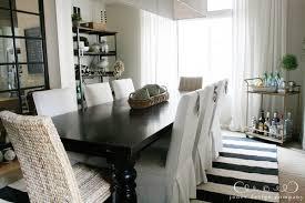 Dining Room Striped Rug Bar Cart