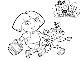 Boots And Dora Printable Coloring Pages