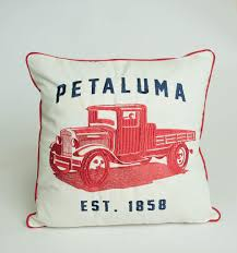 100 Vintage Truck Magazine Embroidered Petaluma Red Pillow Cover As Seen In Country