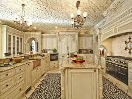 White Kitchen With The Distressed Look Made Even More Interesting A Large Zebra Patterned