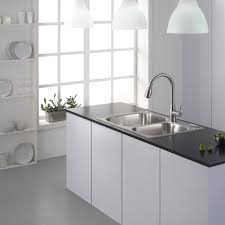 Stainless Overmount Farmhouse Sink by Stainless Steel Top Mount Farmhouse Kitchen Sink On Black Marble