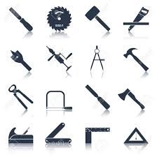 Carpentry Wood Work Tools And Equipment Black Icons Set Isolated Vector Illustration Stock
