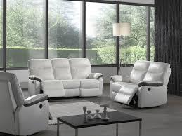 canapé limoges canapé 2 3 places relaxation électrique en cuir blanc