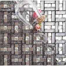 304 stainless steel mosaic tile black glass glass