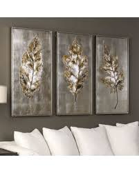 Champagne Leaves Framed Wall Art 3 Piece Set Multicolor