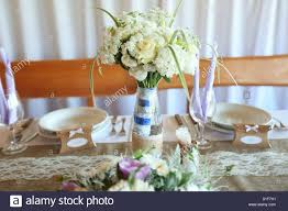 Rustic Wedding Table With Wild Flowers Hand Bouquet