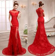 elegant red lace 2015 cheongsam with short sleeves applique high