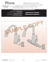 Pfister Pasadena Pull Down Kitchen Faucet by Pfister F 529 7pds User Manual 4 Pages