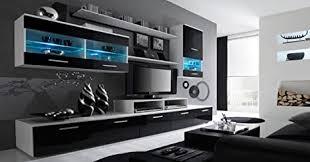 home innovation glanzlack wohnwand wohnzimmer wohnzimmerschrank anbauwand esszimmer mit leds weiß matt und schwarz lackiert maße 250 x 194 x