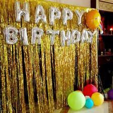 famoby metallic gold foil fringe curtains black happy birthday