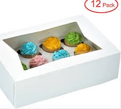 Decony Window Cupcake Boxes With Insert Fits 12 Standard Size Cupcakes Clay Coated Kraft Paperboard Lock Corner Bakery Box