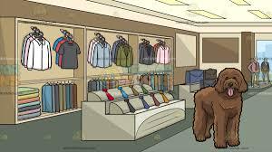 A Big Golden Doodle Dog With Inside Clothing Shop For Men Background