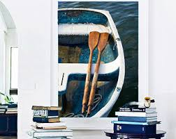 Nautical Wall Decor Large Boat Photograph Vertical Rowboat Oars Photo Teal Dory Print