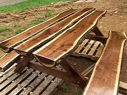 a beautiful live edge log slab picnic table combination