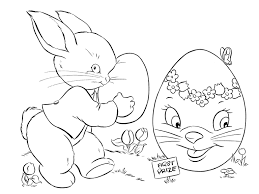 Picture Of An Easter Bunny And Large Egg Coloring Page
