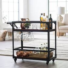 100 Glass Racks For Trucks Black Cocktail Cart Bar Portable Party Wine Buffet Serving Cart