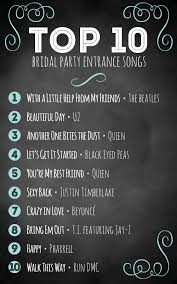 Top 10 Bridal Party Entrance Songs - Wedding Inspiration And ... Top 60 Country Songs To Play At Your Wedding Country Songs Best Playlist 2016 Youtube Are Your Favorite On Our 20 Sad You Just Cant Forget 50 From The Last Years Music 25 Ideas Pinterest List To Listen In 2017 Updated 2 Hours Ago Free Oldies 1953 Greatest Of 1970s 70s Hits