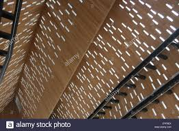 Patterns of light through wooden ceiling Ghent Belgium Stock