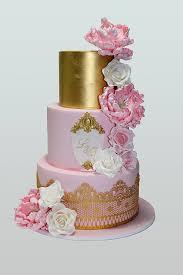 Pink Gold Floral Cake