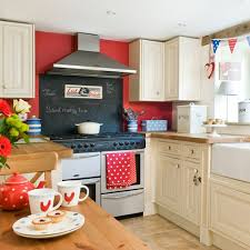 Red Wall And White Cabinets Rustic Style Kitchen Design Idea