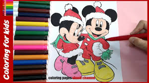 Disney Christmas Coloring Pages Minnie Mickey Mouse From Shosh Channel